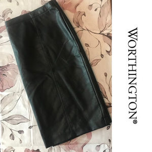 Worthington | Black Faux-Leather Pencil Skirt 18
